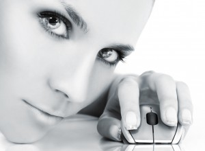 cyber girl with computer mouse
